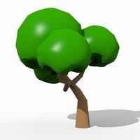1 cartoon tree 3d model