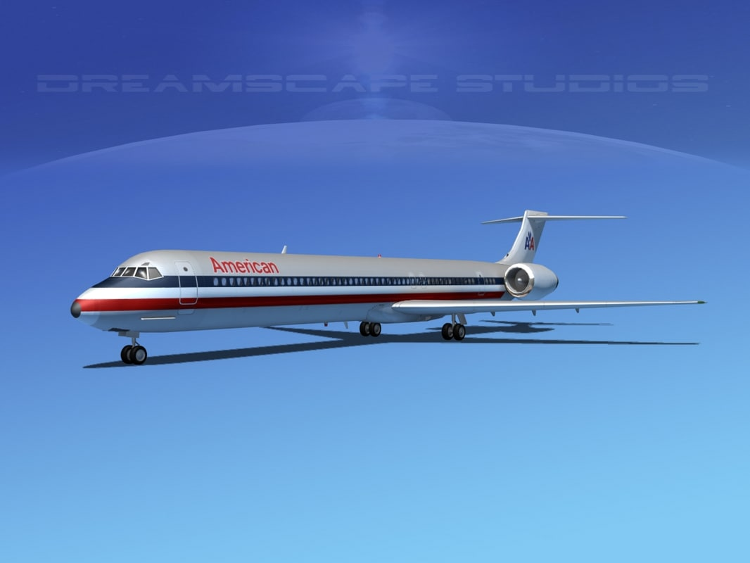 3d model of mcdonnell douglas md-80 airliners