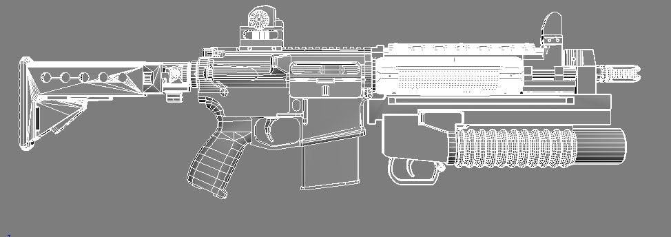 rifle lr300 3d obj
