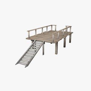 3d model platform wooden wood