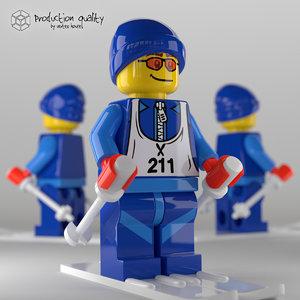 lego skier figure v2 3d model