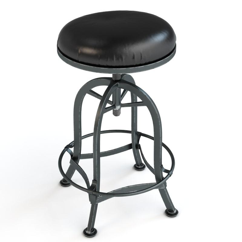 3d bar stool adjustable model