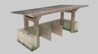Medieval stable low poly