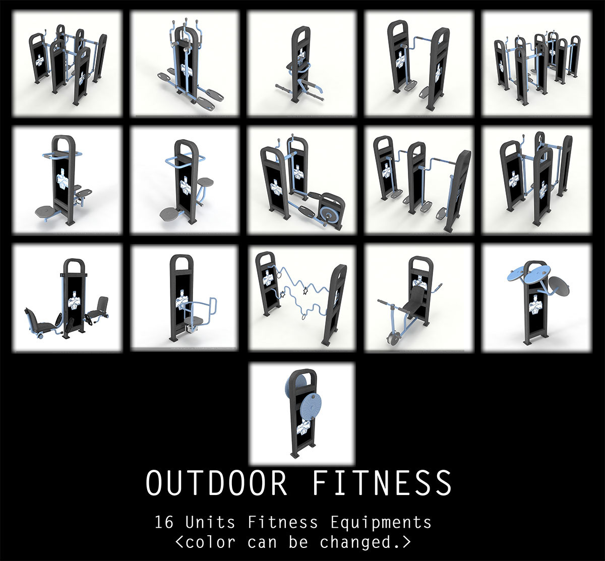 outdoor gym equipments 3d max