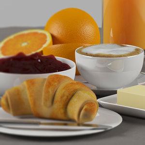 3d model french breakfast