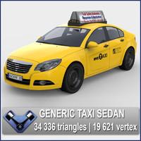 3d generic usa taxi sedan