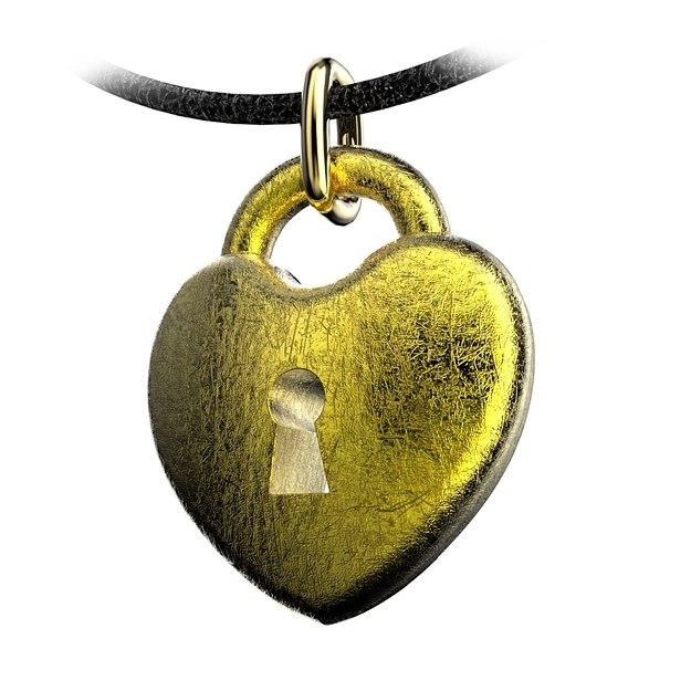 pendant heart rounded 3d obj