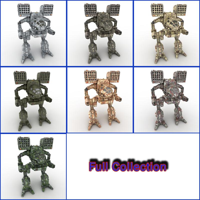 3d robot warrior mech model