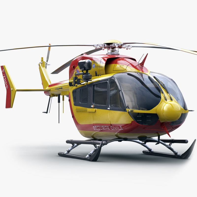 3d model of ec 145 rescue helicopter