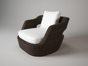 eden armchair unopiu 3d dwg