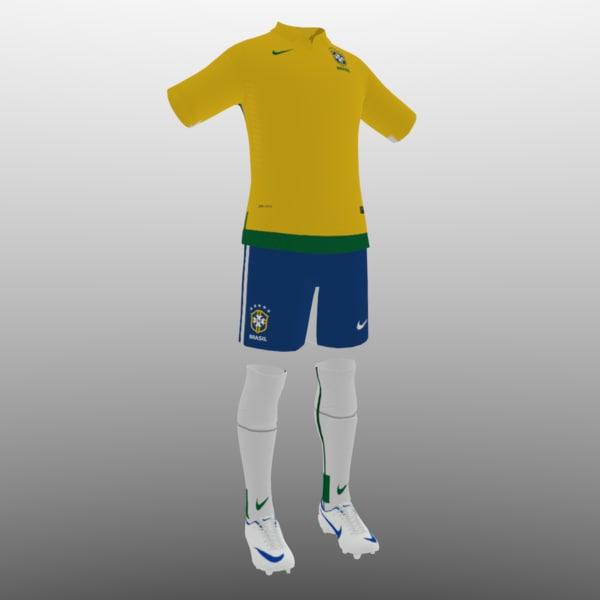 3d 3ds soccer kit clothes brazil - shirt shorts shoes