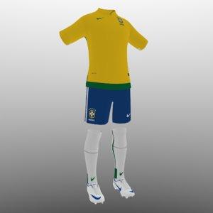 3d 3ds soccer kit clothes brazil