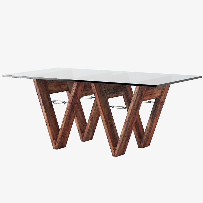 3d model reclaimed wood glass v-form