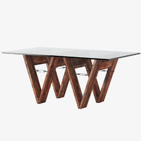Reclaimed Wood & Glass V-Form Dining Table