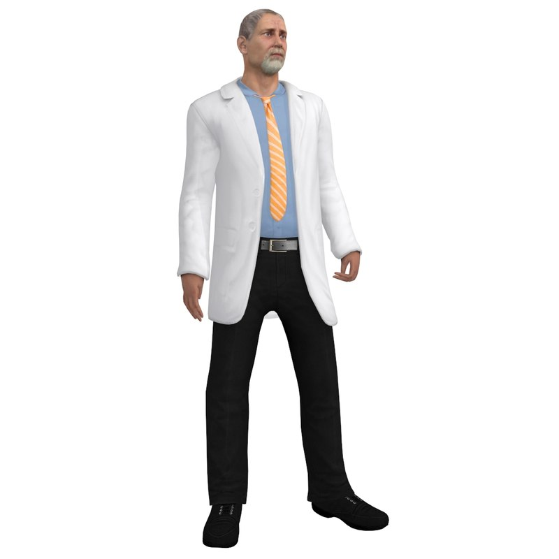 3d model of rigged doctor