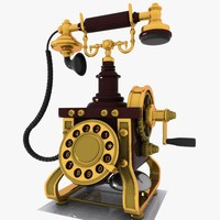 vintage telephone phone 3d x