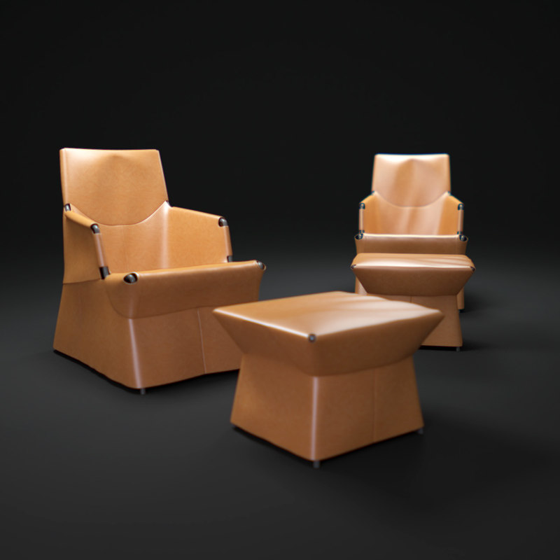 3d model palomba-serafini-cuir-lounge
