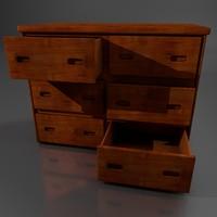 wooden dresser 3d obj