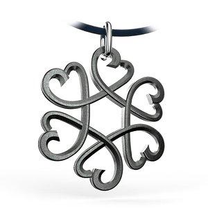 3d pendant hearts star