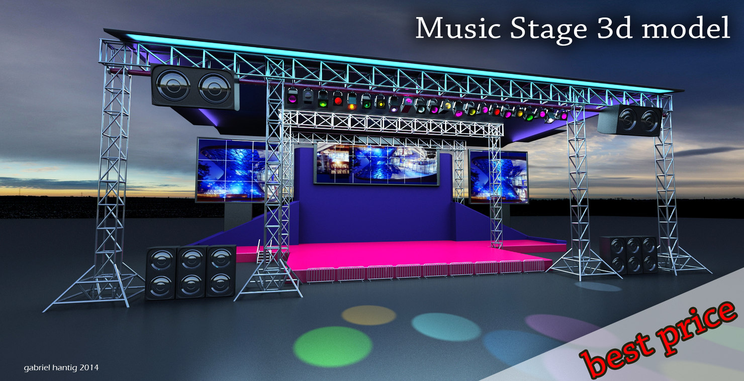 stage musical concerts 3d max
