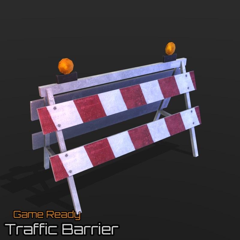 ready traffic barrier 3d 3ds