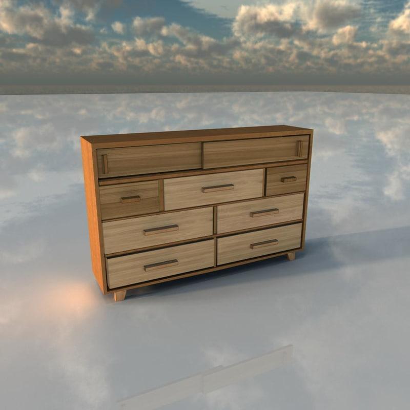 commode wood 3d obj