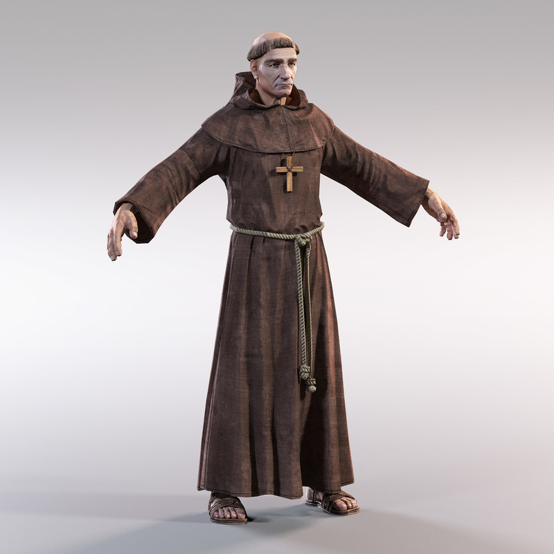 3d obj medieval monk
