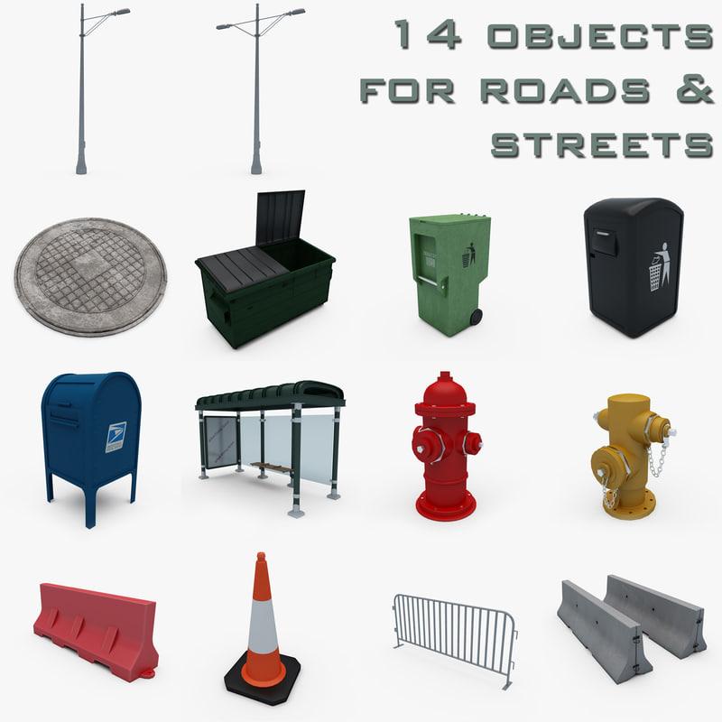 3ds street lamppost manhole dumpster
