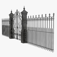 c4d wrought iron fence gate