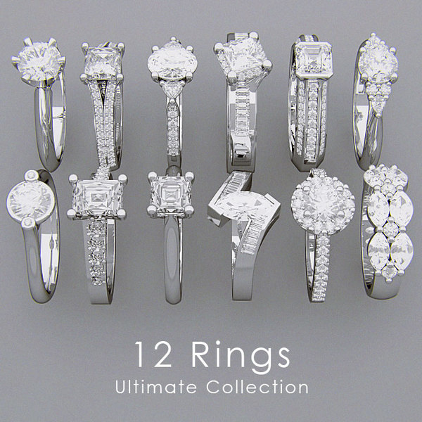 3d model rings diamonds 12