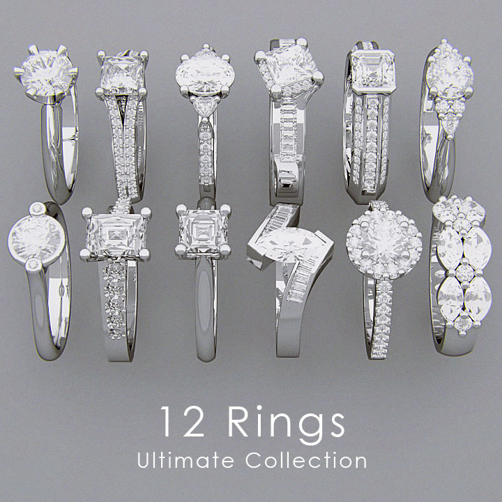 3d model rings diamonds 12