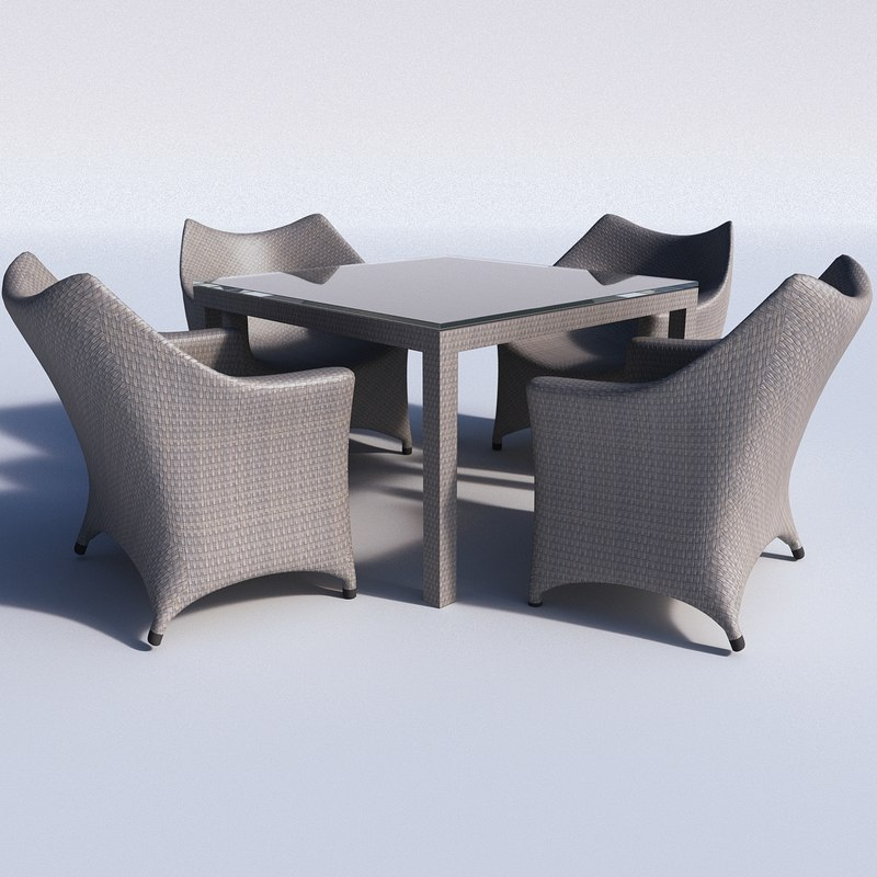 3d chairs table model