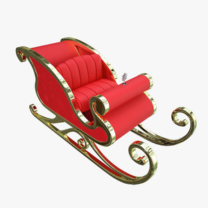 santa claus sleigh 3d x