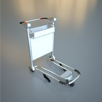 3d model luggage cart airport