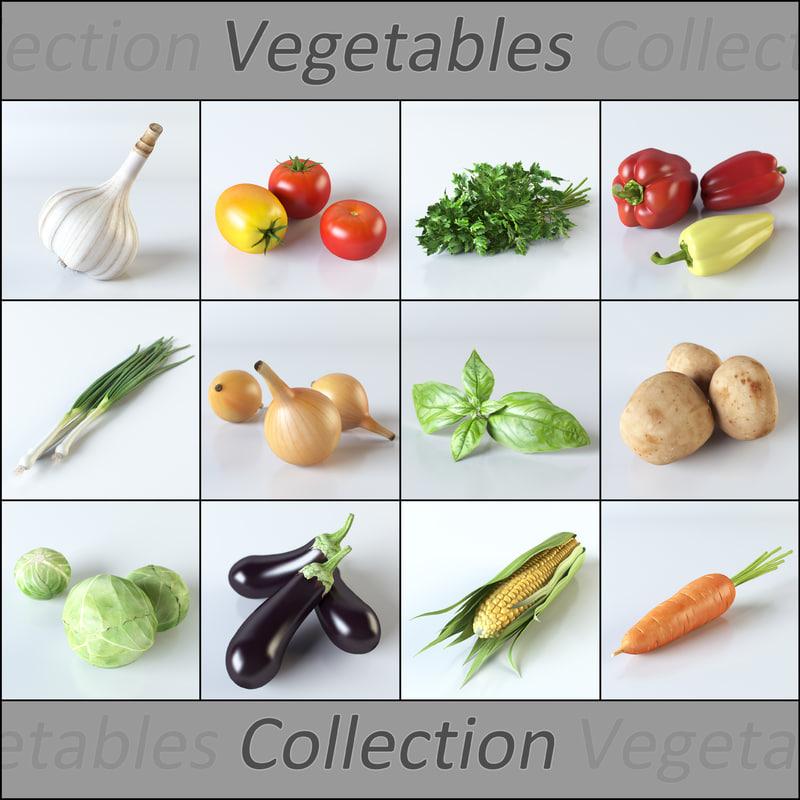 3d realistic vegetables