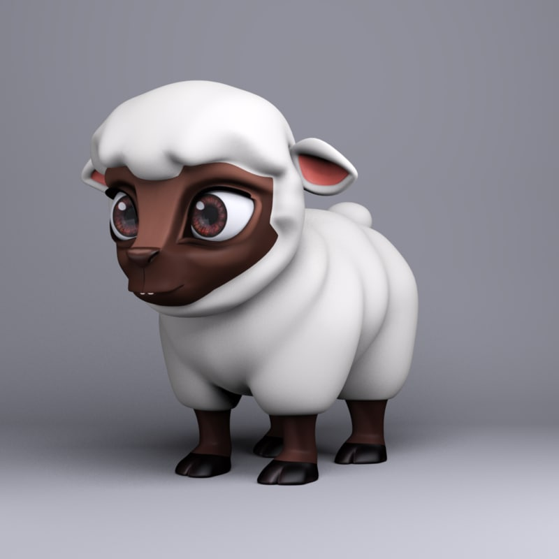 cartoon animal sheep 3d obj