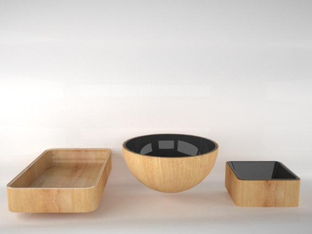 3dsmax wooden plastic plates