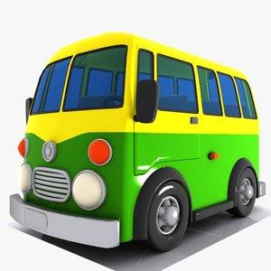3d model cartoon minibus bus