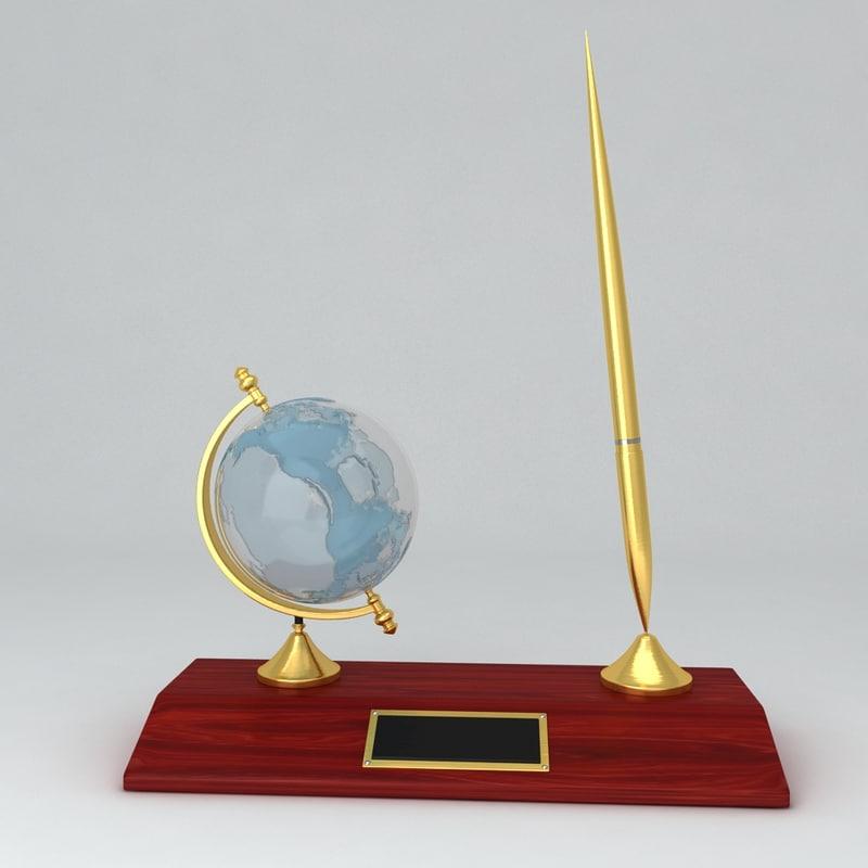 3dsmax globe pen holder