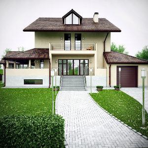 3d house swimming pool model