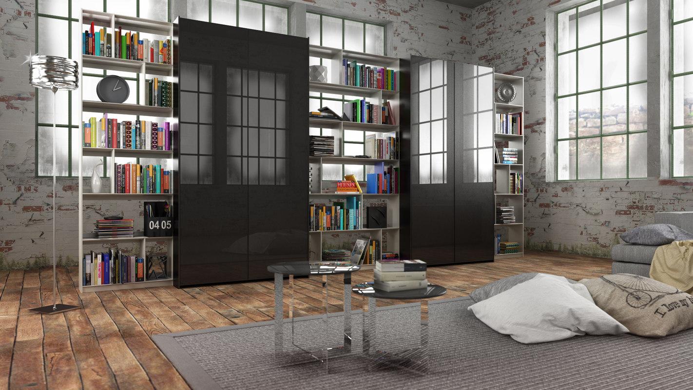 3d model b bookcase 19 -