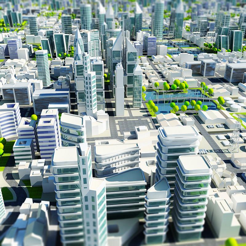tile-able cityscape 3d model