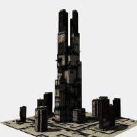 3d model sci-fi skyscraper 3003