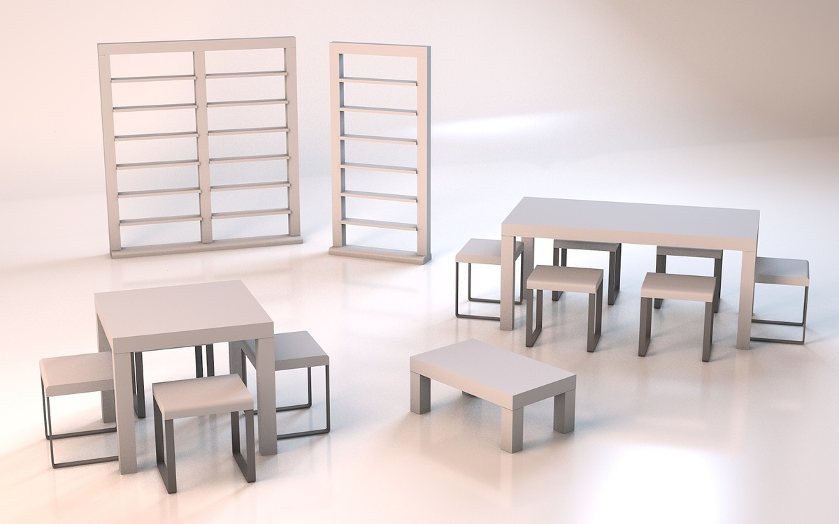 original set dining table 3d 3ds
