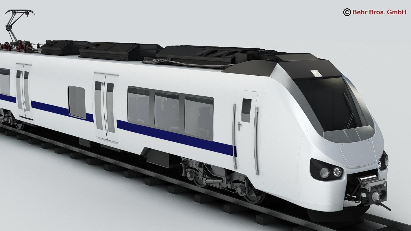 3d generic commuter train locomotives model