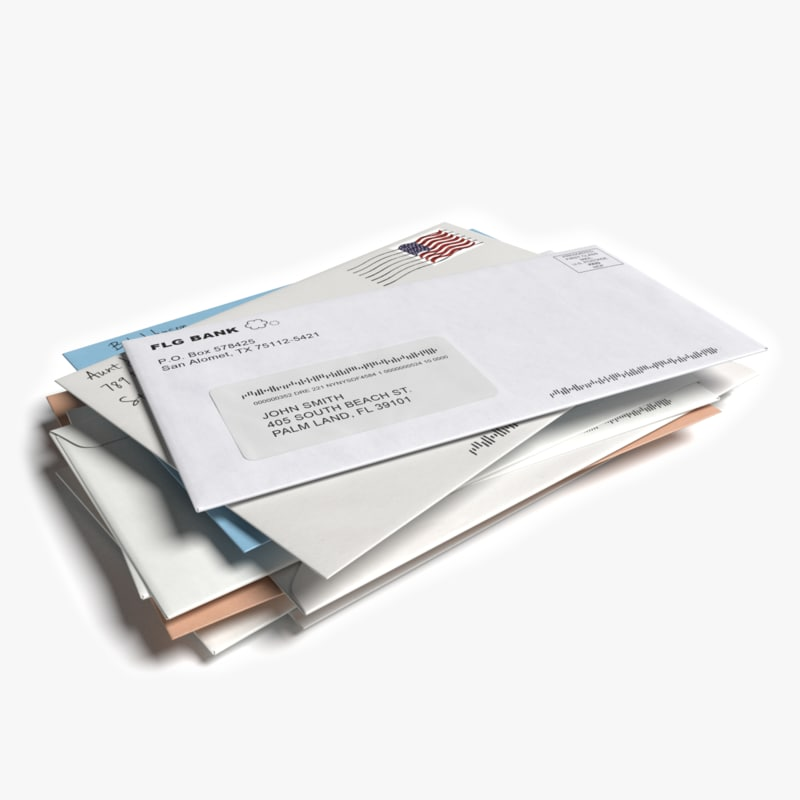 stack mail 3d model