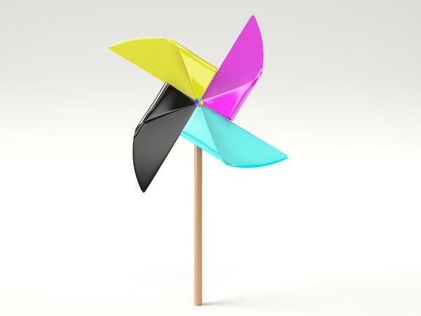 3d pinwheel cmyk rainbow model
