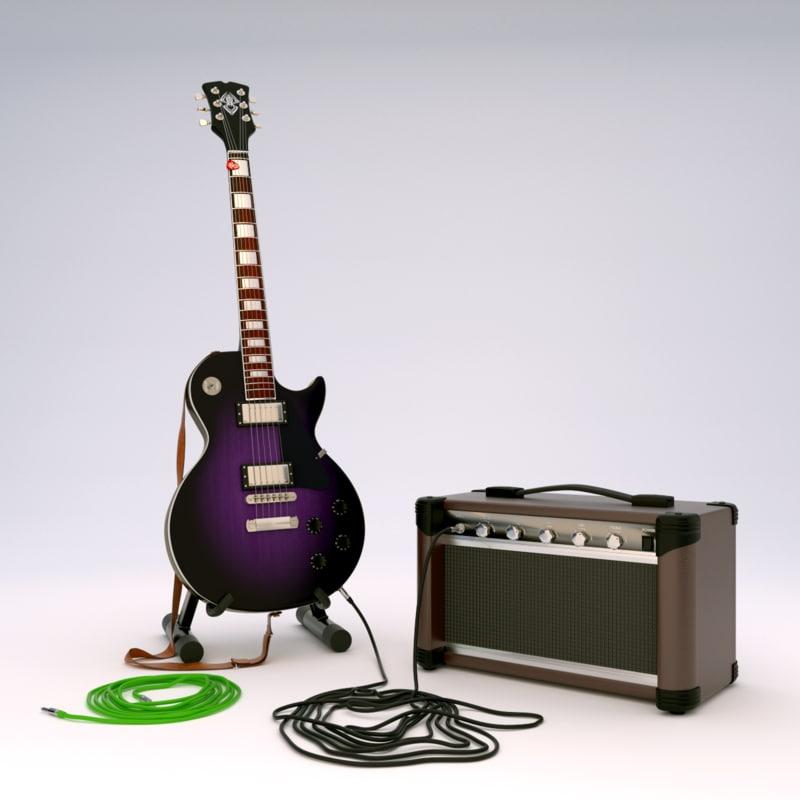 electric guitar stand amplifier 3d dxf. Black Bedroom Furniture Sets. Home Design Ideas