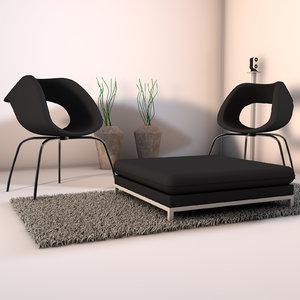 3d model designs living room corner