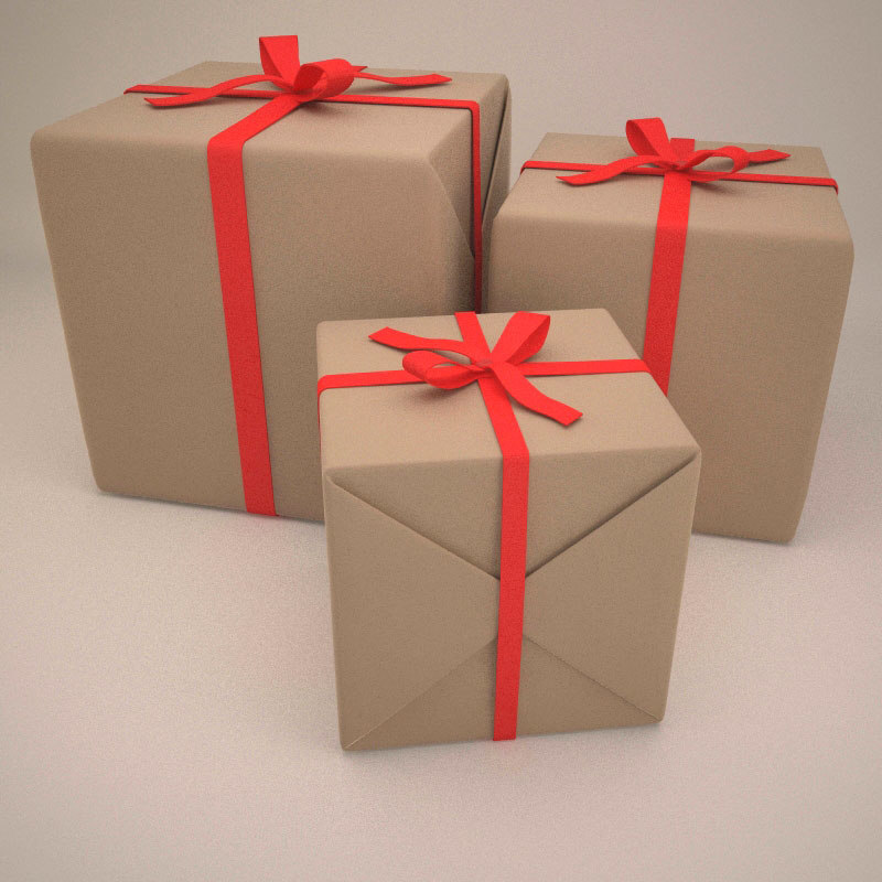 3d gift box wrapped